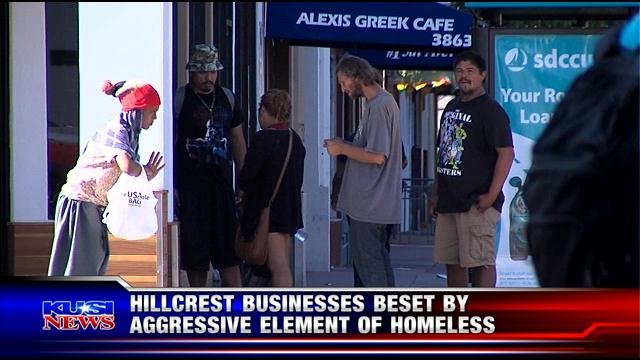 Hillcrest businesses beset by aggressive element of homeless