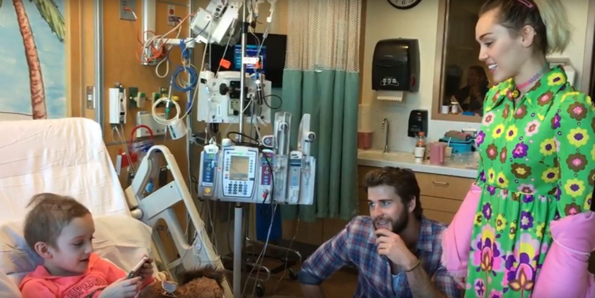 Miley Cyrus, Liam Hemsworth visit patients at Rady Children's Hospital