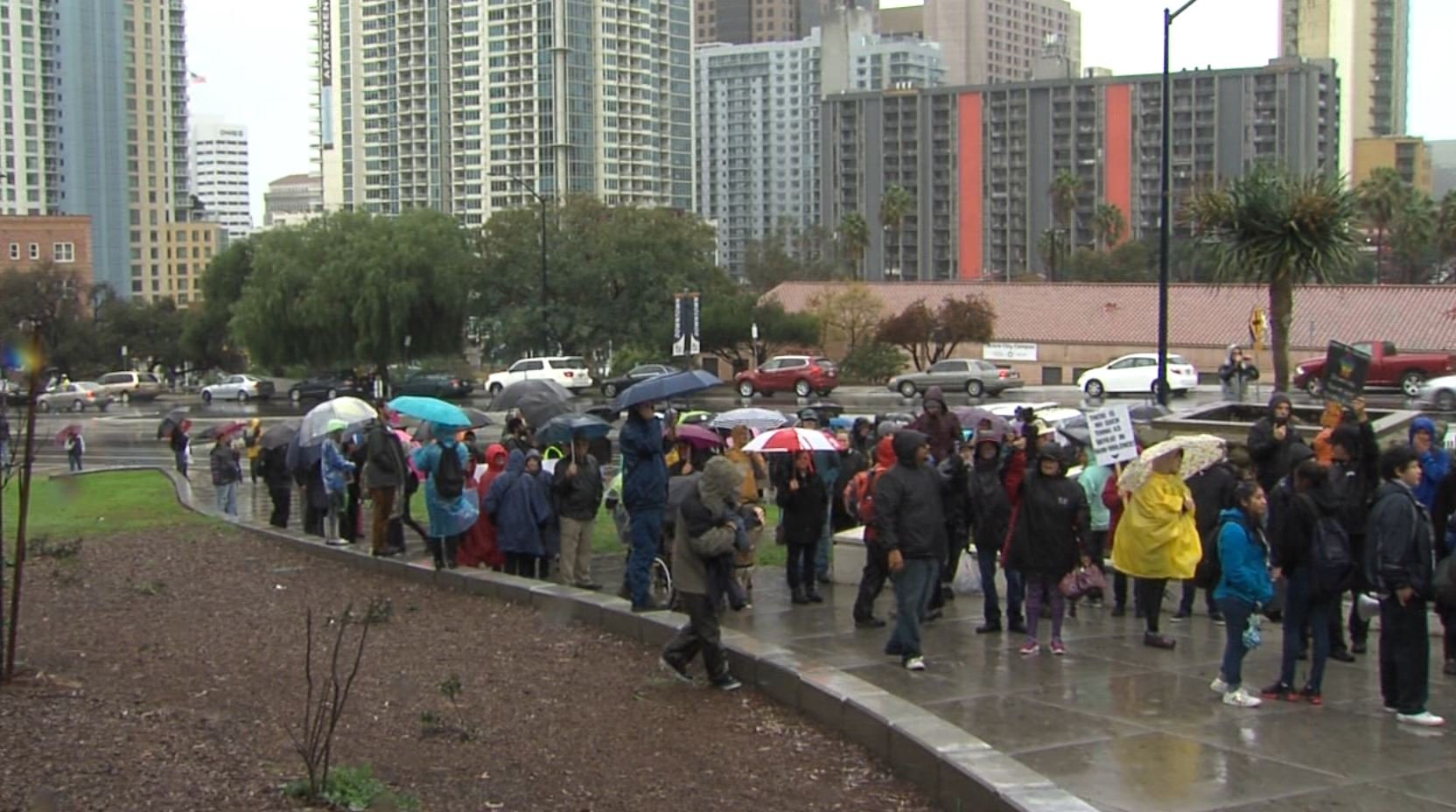 Crowds march in downtown San Diego, protesting inauguration of Donald Trump