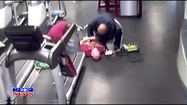 Defibrillator saves man having heart attack at local gym