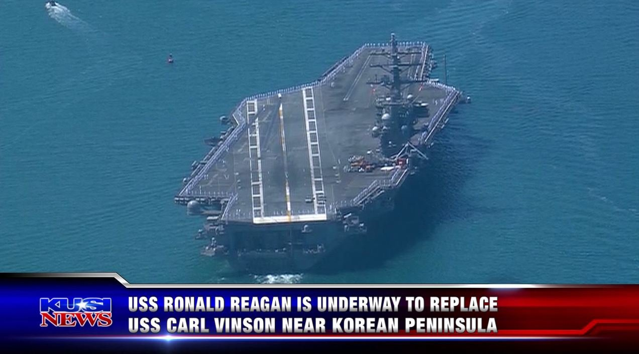 USS Ronald Reagan is underway to replace USS Carl Vinson near Korean Peninsula