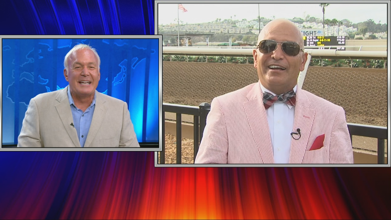 Former jockey Patrick Valenzuela joins Paul Rudy track side on Opening Day