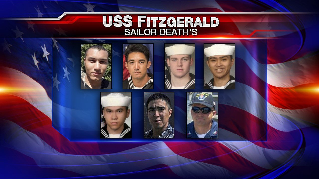 Seven sailors killed during collision of USS Fitzgerald and Japanese container ship posthumously promoted