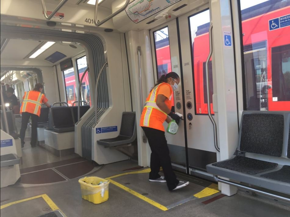 MTS trolleys and buses being sanitized to prevent spread of Hepatitis A