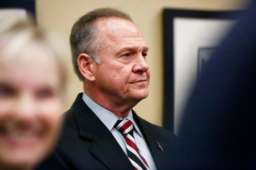 (AP Photo/Brynn Anderson). Former Alabama Chief Justice and U.S. Senate candidate Roy Moore waits to speak the Vestavia Hills Public library, Saturday, Nov. 11, 2017, in Birmingham, Ala.)