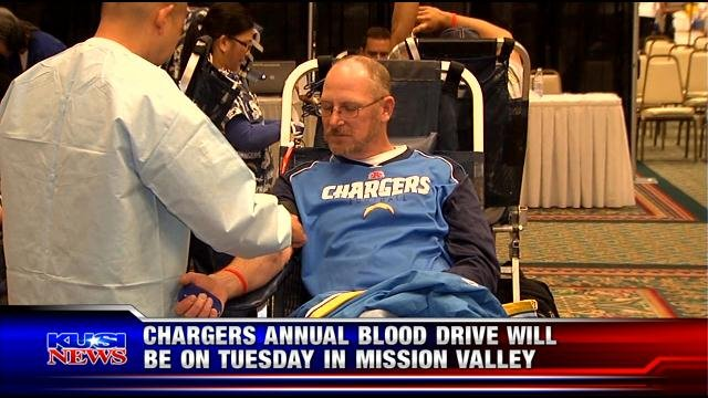 Chargers annual blood drive will be Tuesday in Mission Valley
