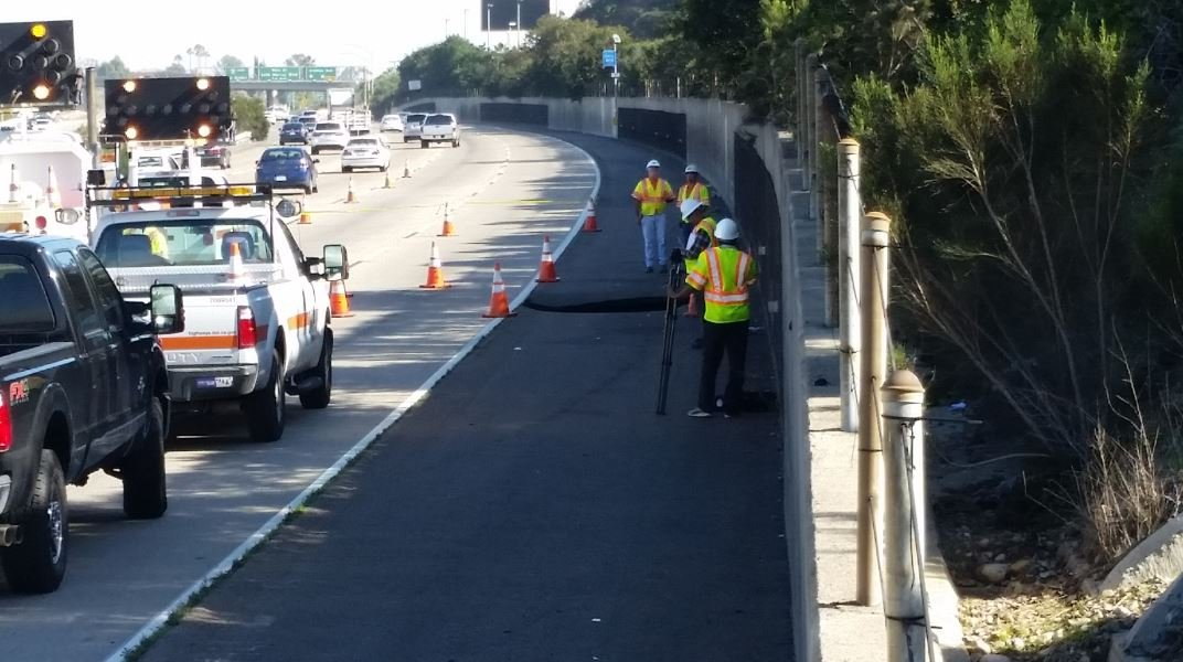 Sinkhole opens off I-8 near College Ave